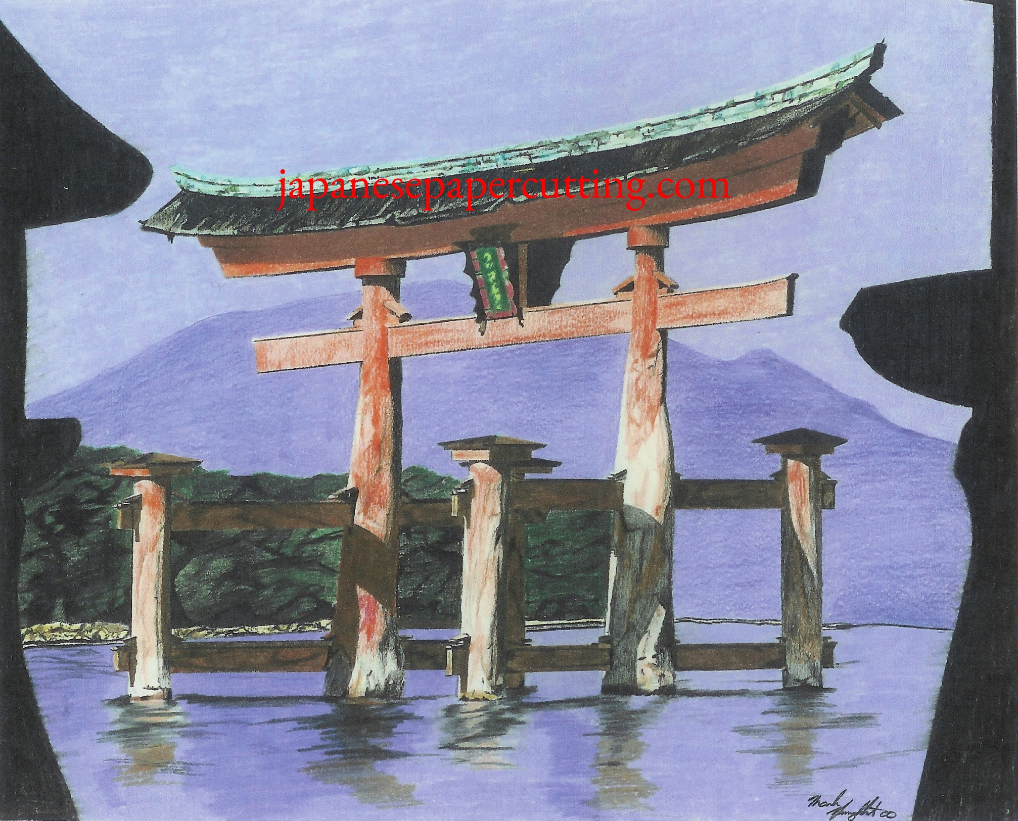 Itsukushima Shrine   Miyajima, Hiroshima, Japan   Pencil Crayon   2000