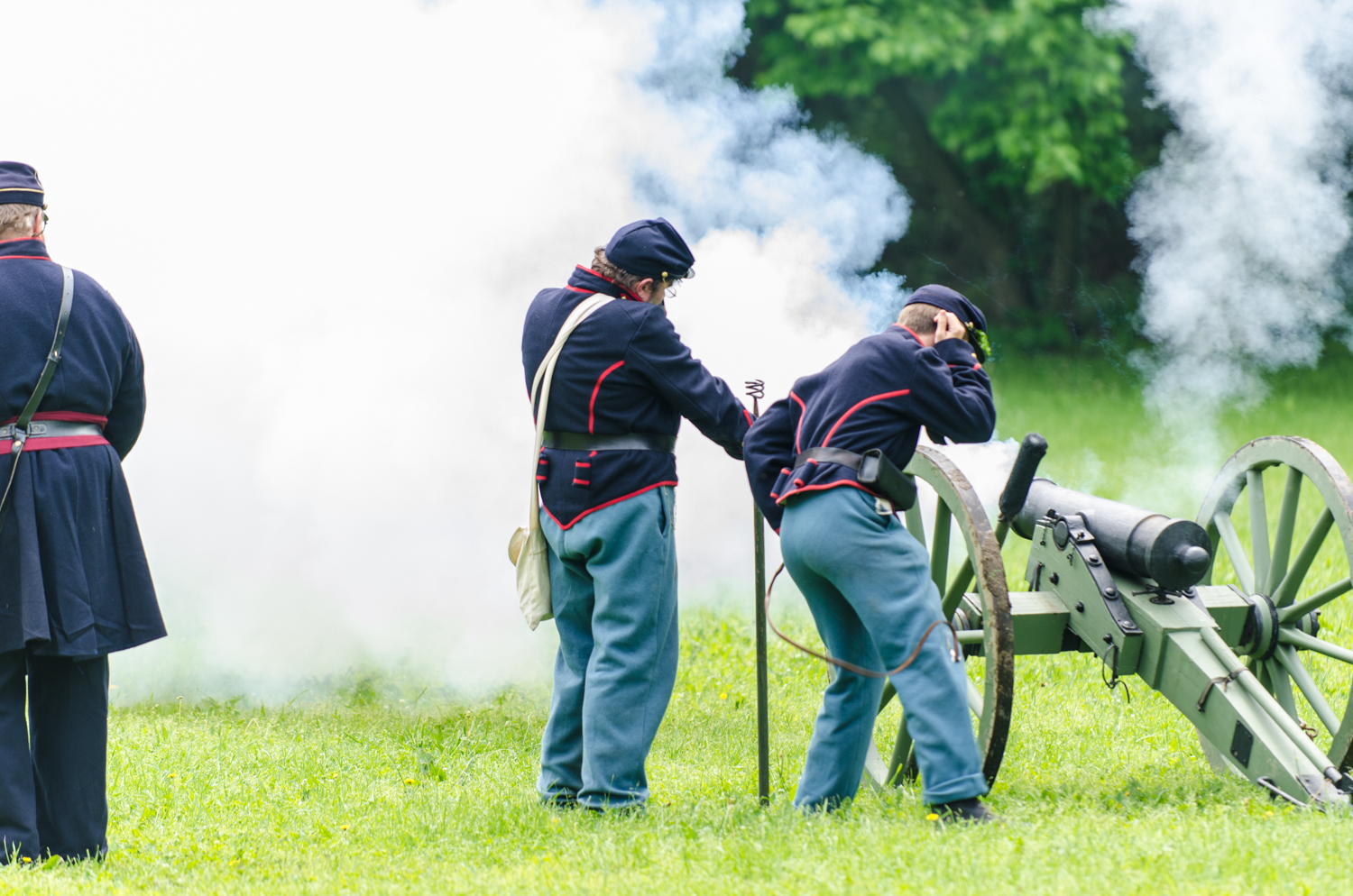 Cannon fire at the Civil War Reenactment at Heritage Village in Sharon Woods, Sharonville, Ohio.