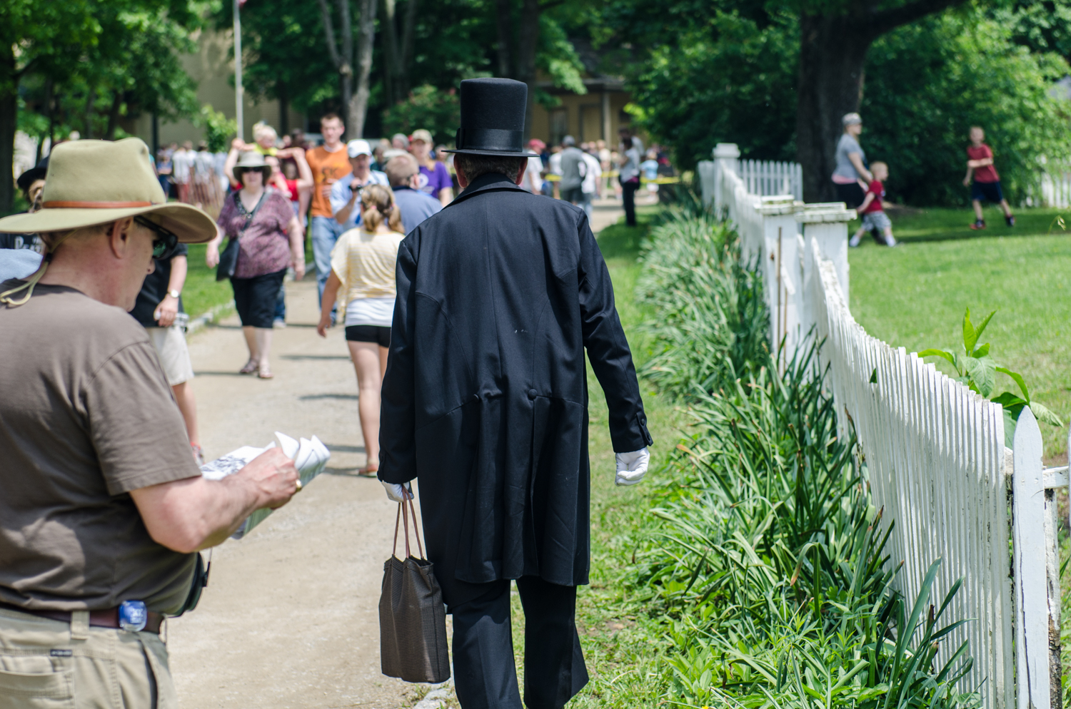 President Lincoln walks through the crowd.  Heritage Village, Sharon Woods, Sharonville, Ohio