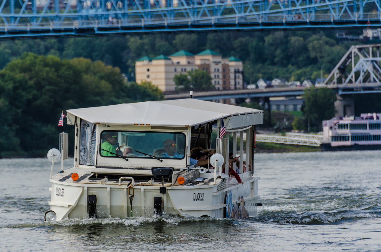 Duck 52 of Ride the Ducks - Cincinnati & Northern Kentucky - cruising down the Ohio River