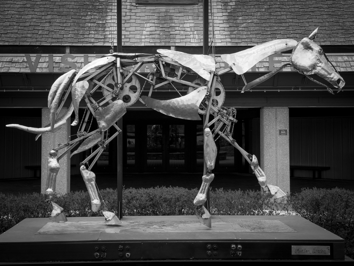 Mechanical horse at the entrance to the Visitor Center at the Kentucky Horse Park, Lexington, Kentucky