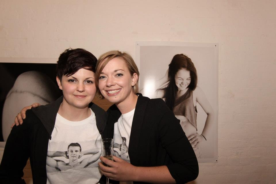 Scar Stories photographer Lisa Auger celebrates the Melbourne exhibition opening with friend Jasmine, president