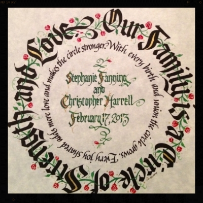 """ O ur Family Is a Circle"" print with hand lettered personalizing... 7.5"" square, matted to fit 12"" square frame."