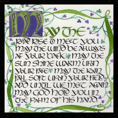 "Irish Blessing Print with hand embellishment gold leaf... 7.5"" square matted to fit 12' Square Frame."