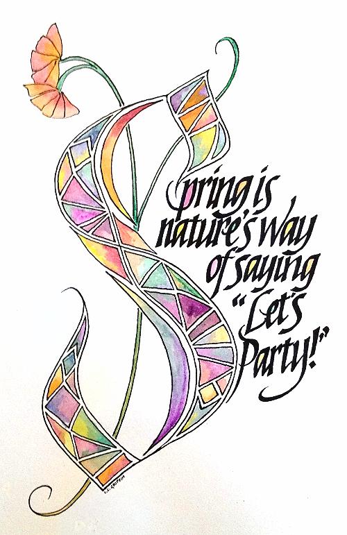 """""""Let's Party!"""", 8 x 10, artists gouache, pigma pens on canson paper."""