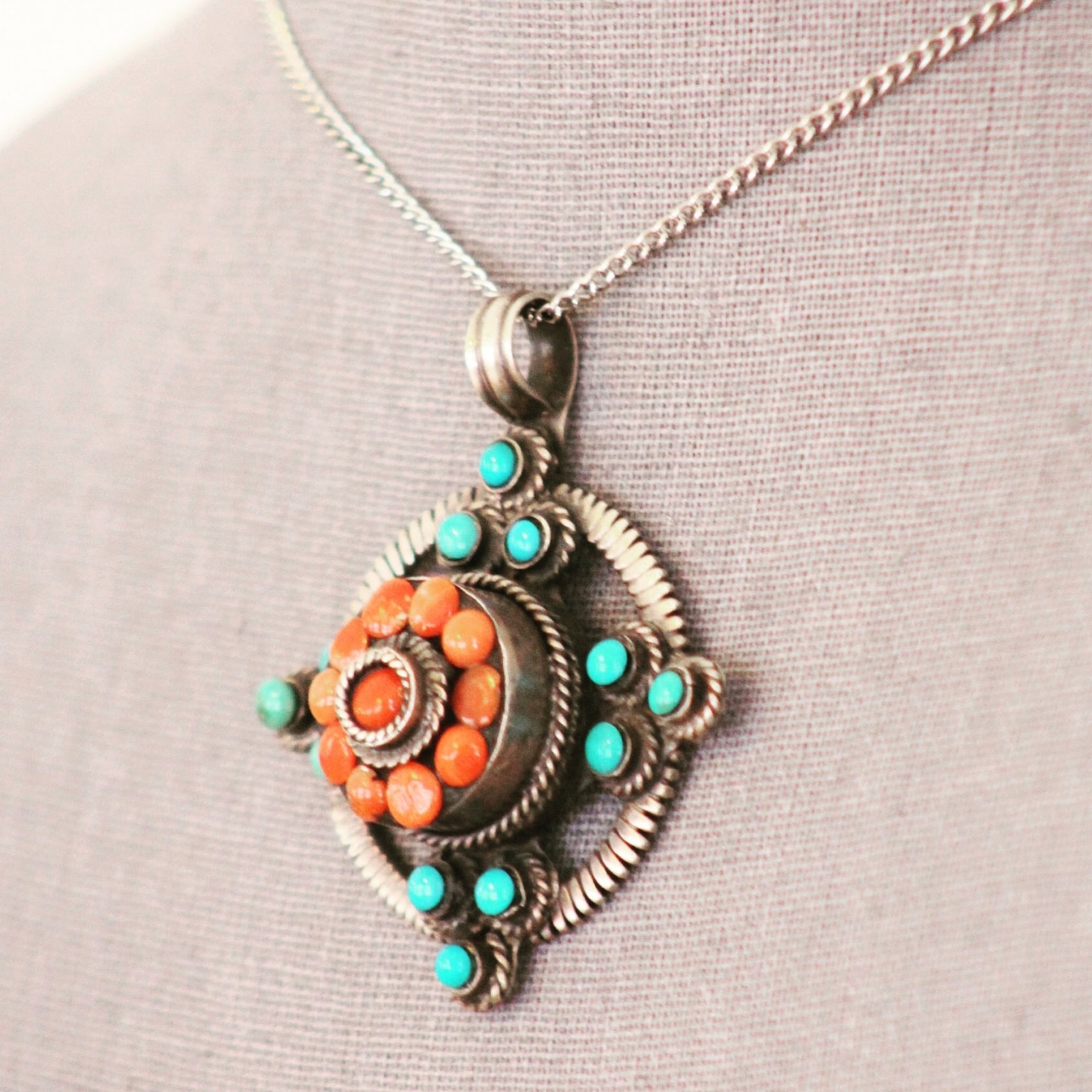 Turquoise and Coral Pendant, Old World Kashmiri style by IntiShanti