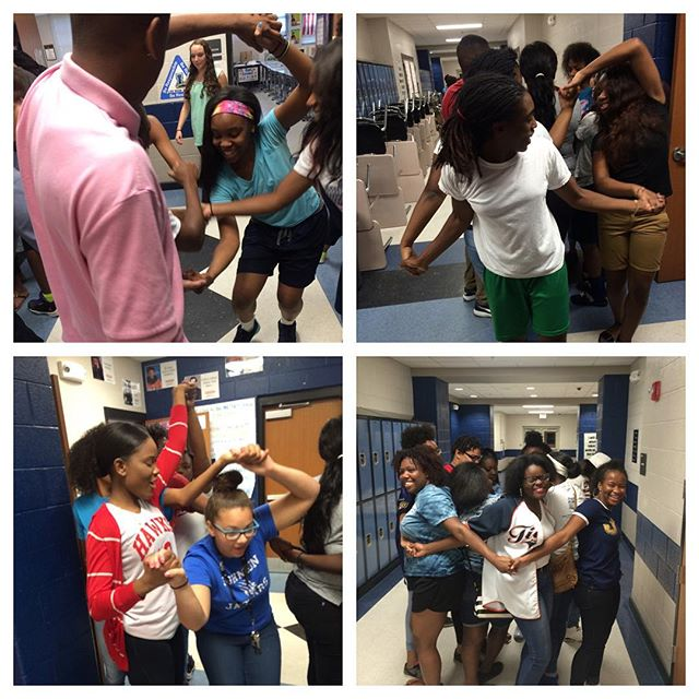 Our scholars solved the human knot this morning to warm up for all of the ACT problems they needed to solve today #2016stemsummerinstitute #ACTprep #teambuilding