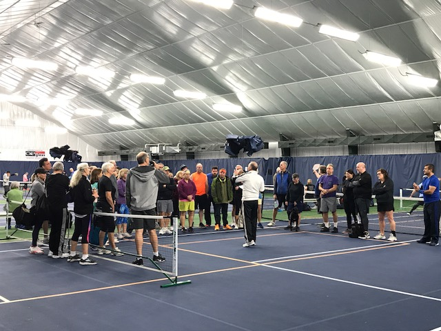 Coach Dan Bence giving instructions at the pickleball tournament February 2019.