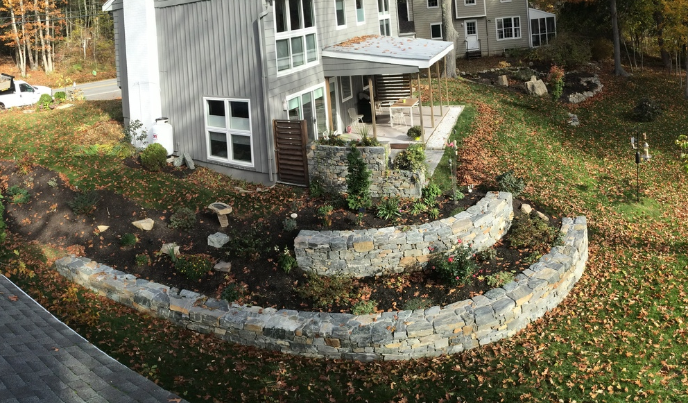 Dry Stone Wall (wet laid cap) in Cape Elizabeth with Cape Landscapes LLC