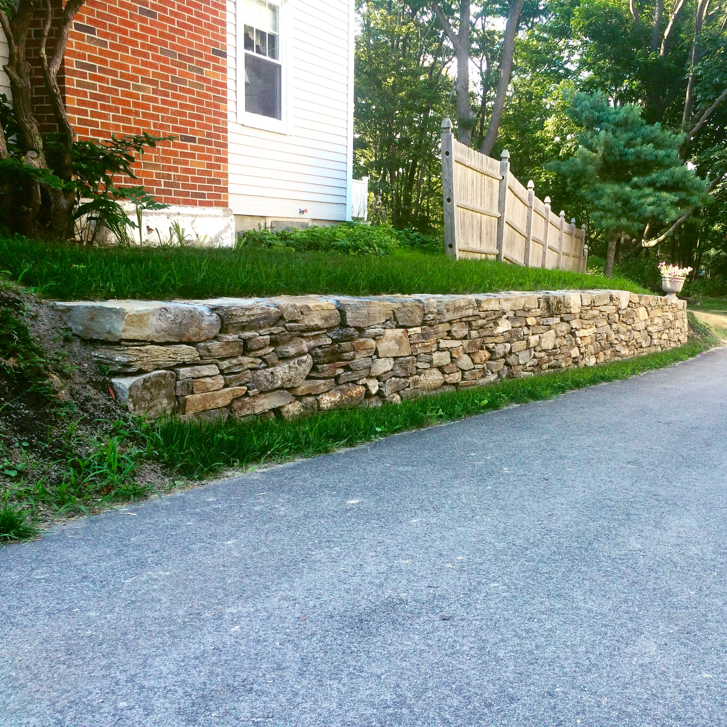 Old New England wall done with Cape Landscapes LLC Cape Elizabeth, Me. 2015