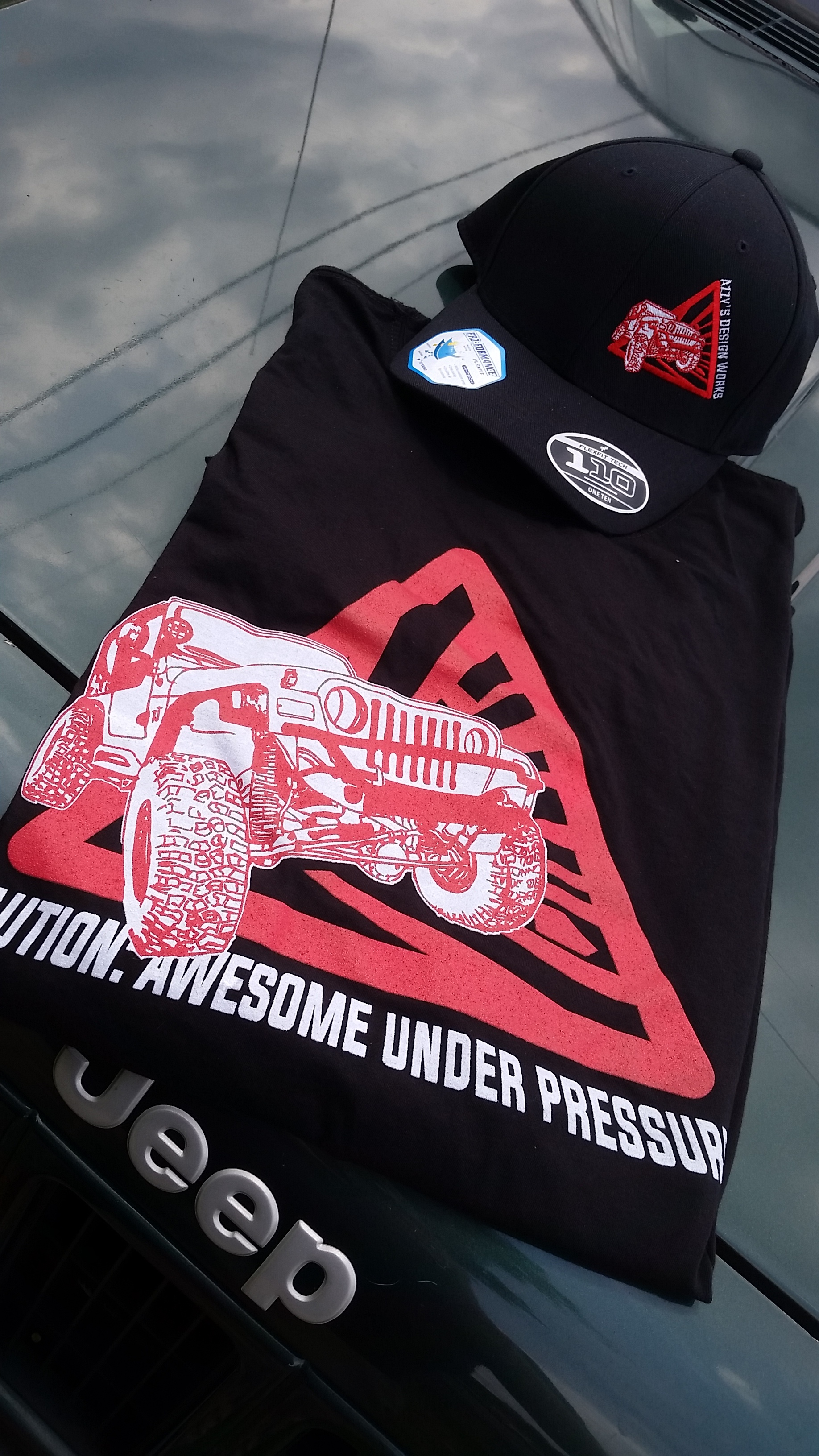 Awesome Under Pressure Jeep Wrangler shirts now in black sport varieties. Hats too!