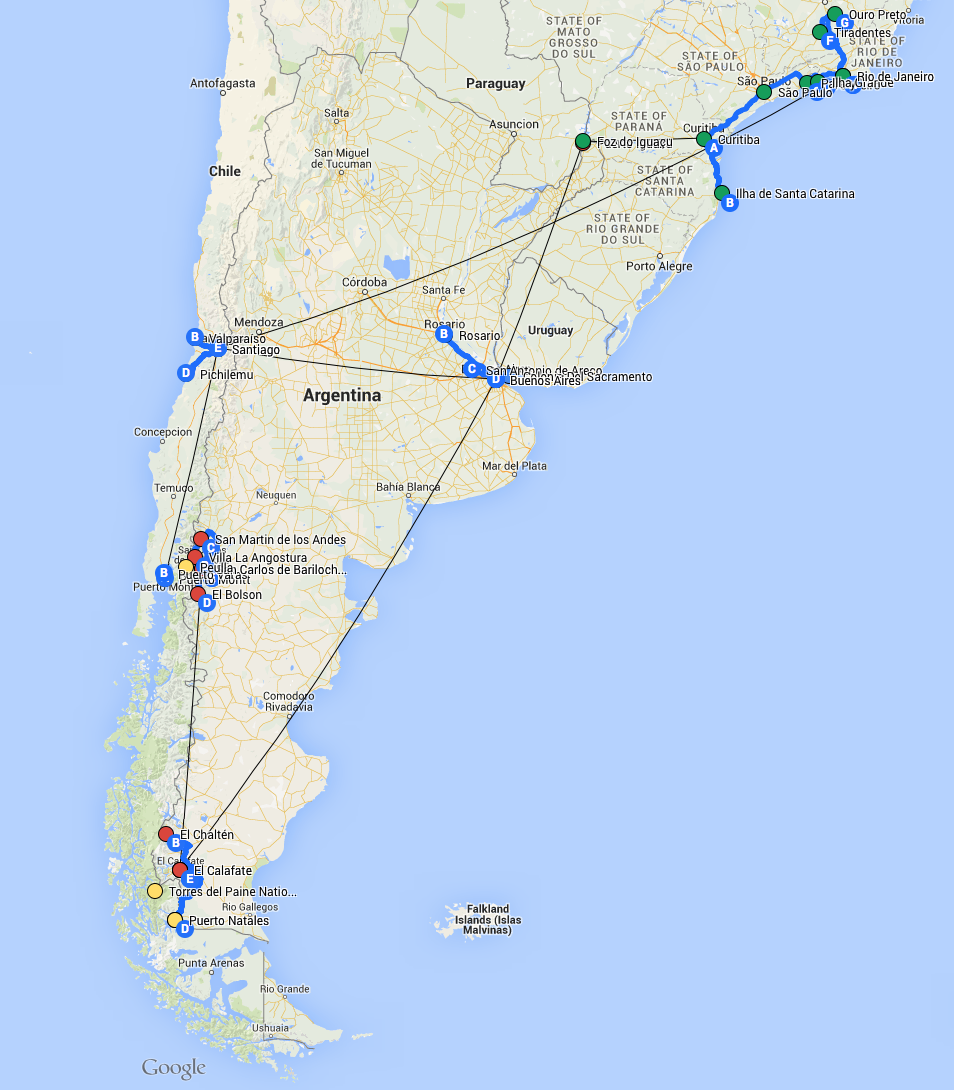 South American Adventure - Chile, Argentina y Brazil (Click to enlarge)