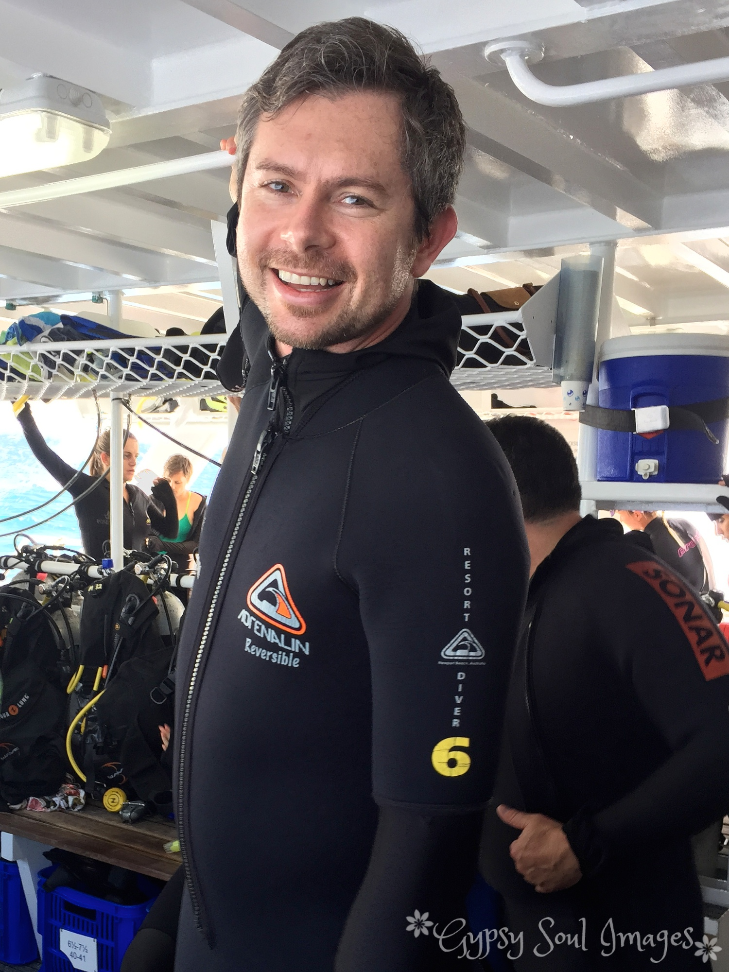 Suited up to dive