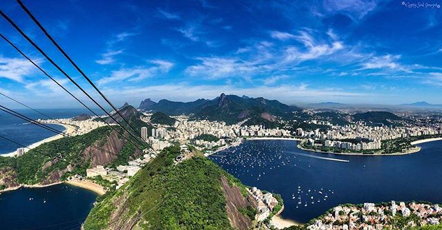 Rio Baby! - Rio de Janeiro, Brazil  Woohoo …. We made it to Rio! 🏖😎🎉 Justin shot this incredible panorama from the top of Sugarloaf Mountain, with views stretching from downtown Rio and harbour through to Copacabana beach, overlooked by the Christ the Redeemer statue and favelas in the far distance … cracking shot Babe!! 🔝🌟🙌❤️ Check out the full size panorama on FB (link in bio). #gypsysoulimages