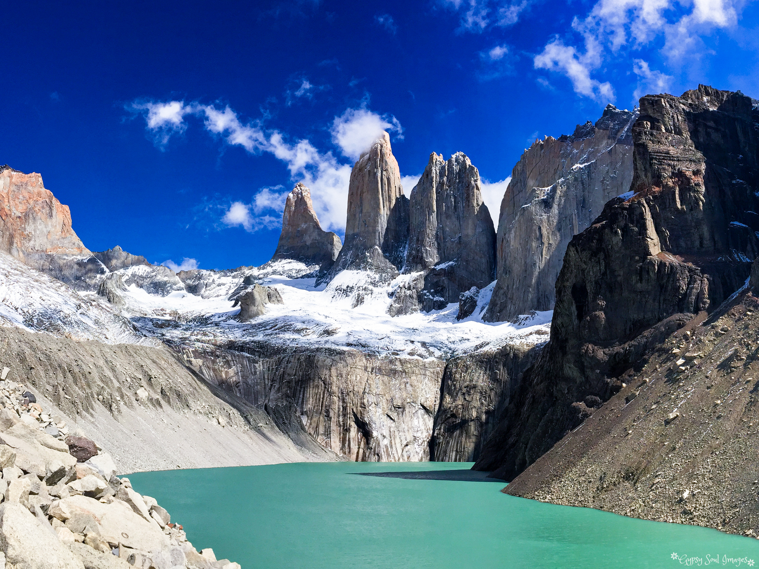 The Towers of Torres del Paine, Chile Purchase this image in a variety of products from   Red Bubble  .
