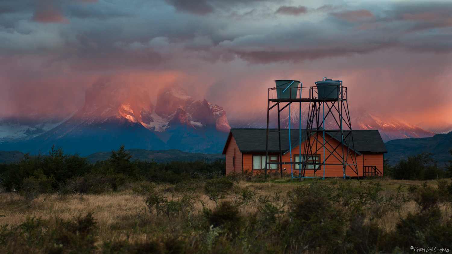 Sunrise over Torres del Paine National Park, Chile Purchase this image in a variety of products from   Red Bubble  .