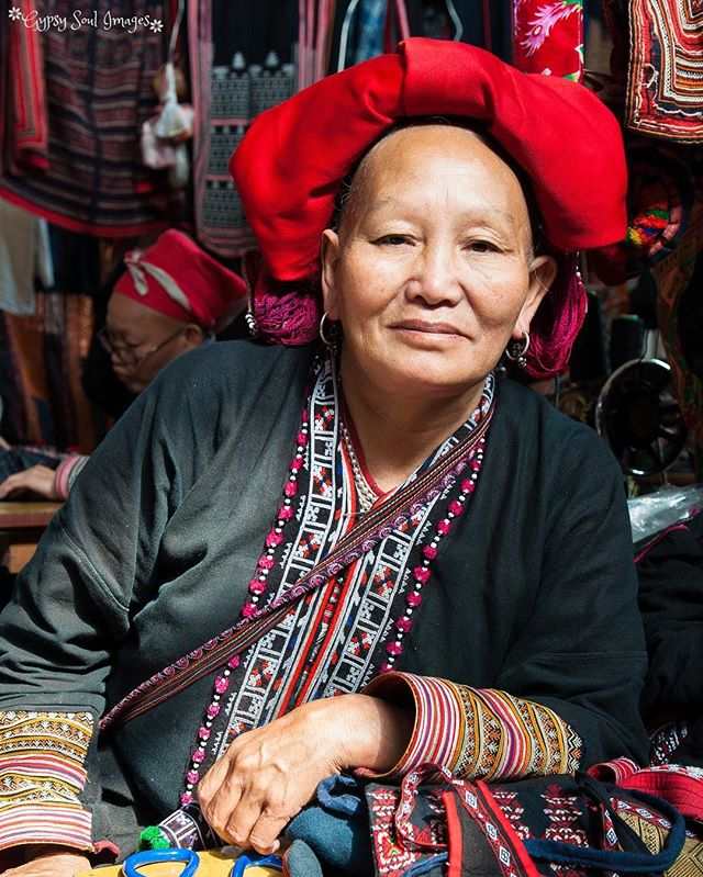 The Seamstress - Sapa, Vietnam  We took this portrait of a woman from the Red Dzao hill tribe in the Sapa markets. ❤️ #gypsysoulimages