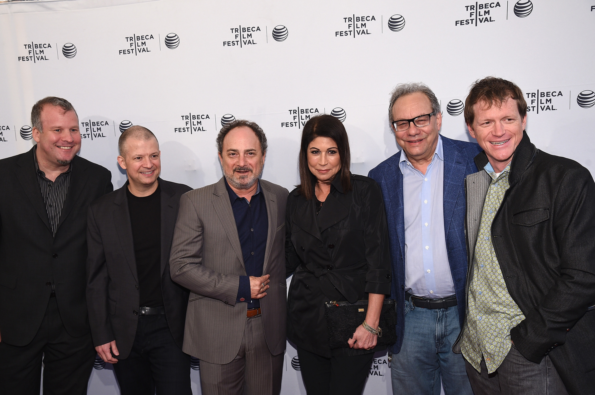 NEW YORK, NY - APRIL 22: (L-R): Gregory Segal, Jim Norton, Kevin Pollak, Caroline Hirsch, Lewis Black and Burton Ritchie     (Photo by Bryan Bedder/Getty Images for American Express)