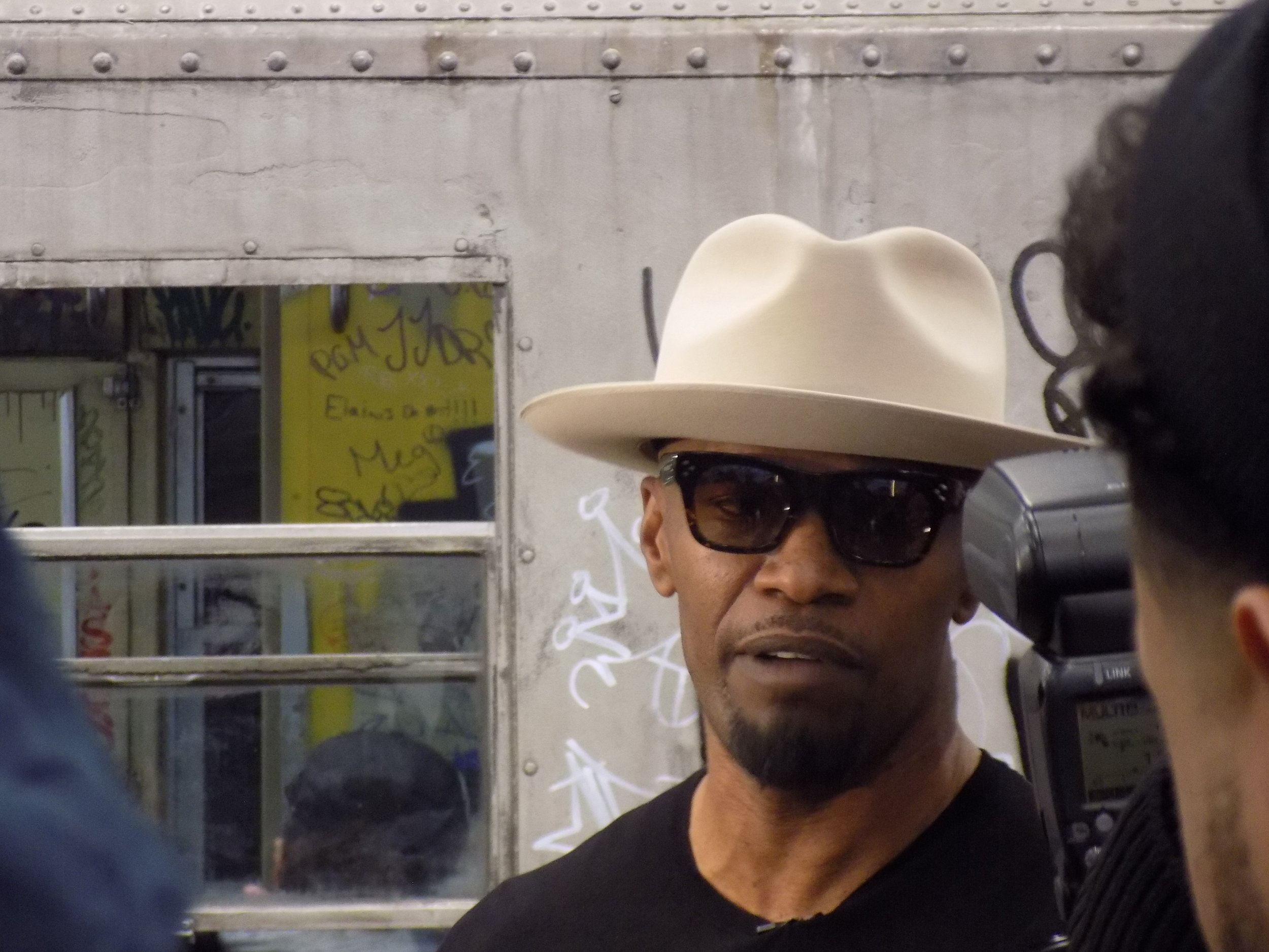 "Jamie Foxx in Manhattan bringing ""shade"" by Lapacazo Sandoval—special to Amnews .jpeg"