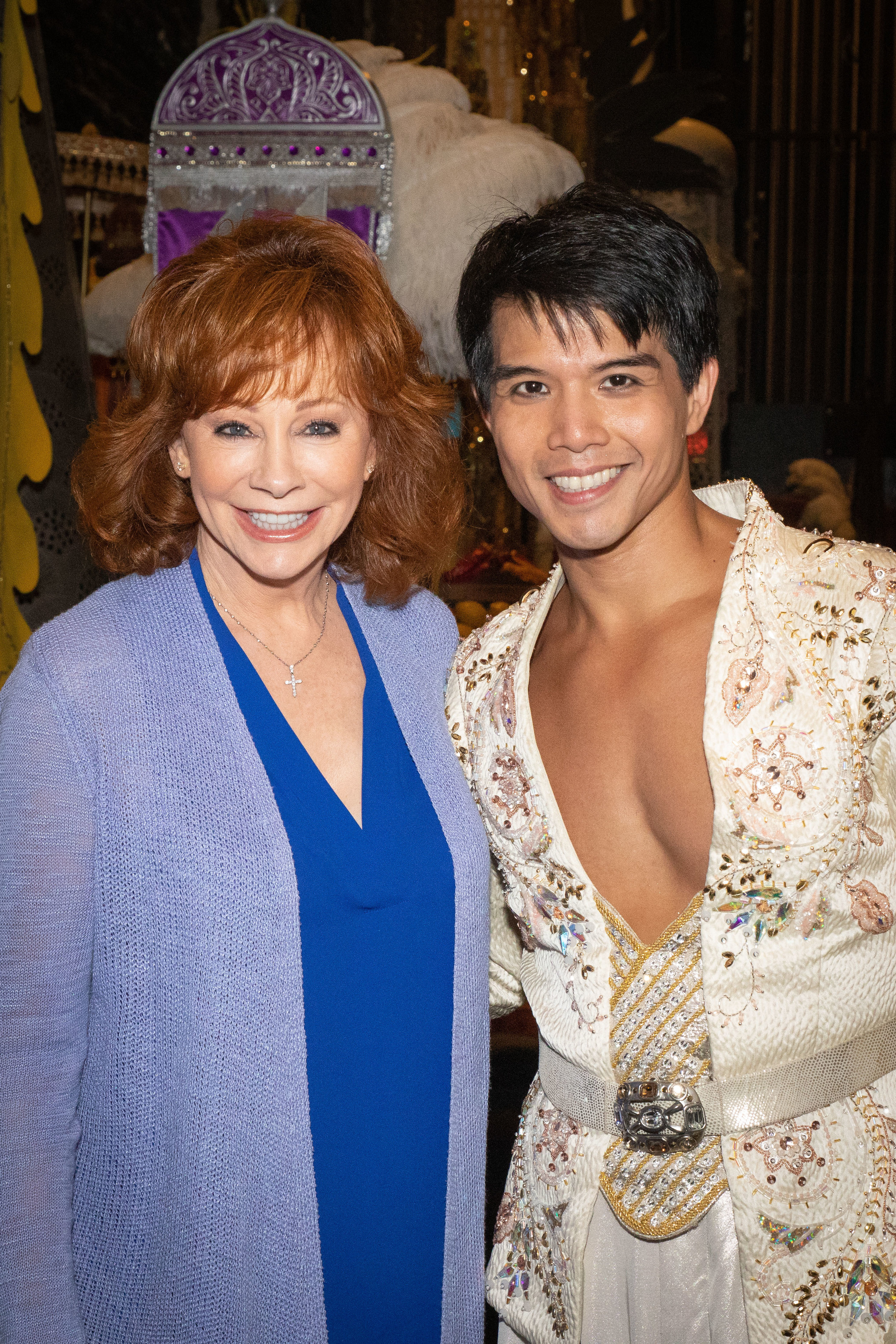Reba McEntire and Telly Leung Backstage at Broadway's Aladdin - Photo by Shay Frey Courtesy Disney Theatrical Productions