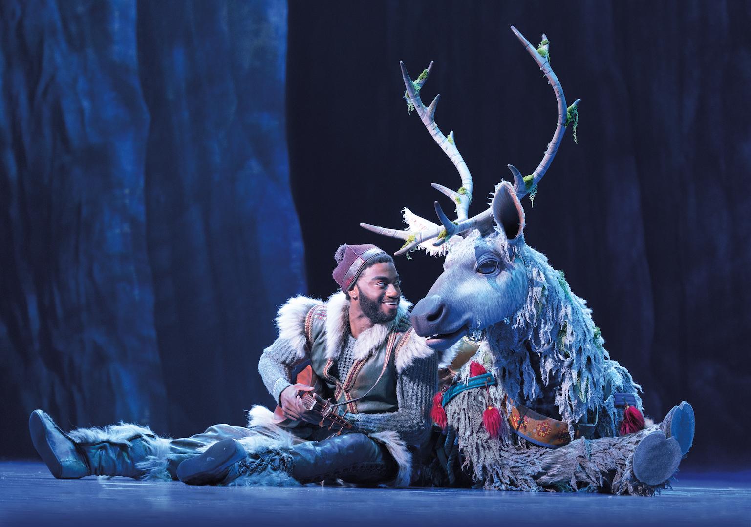 Jelani Alladin (Kristoff) and Andrew Pirozzi (Sven) in FROZEN on Broadway  Photo by Deen van Meer