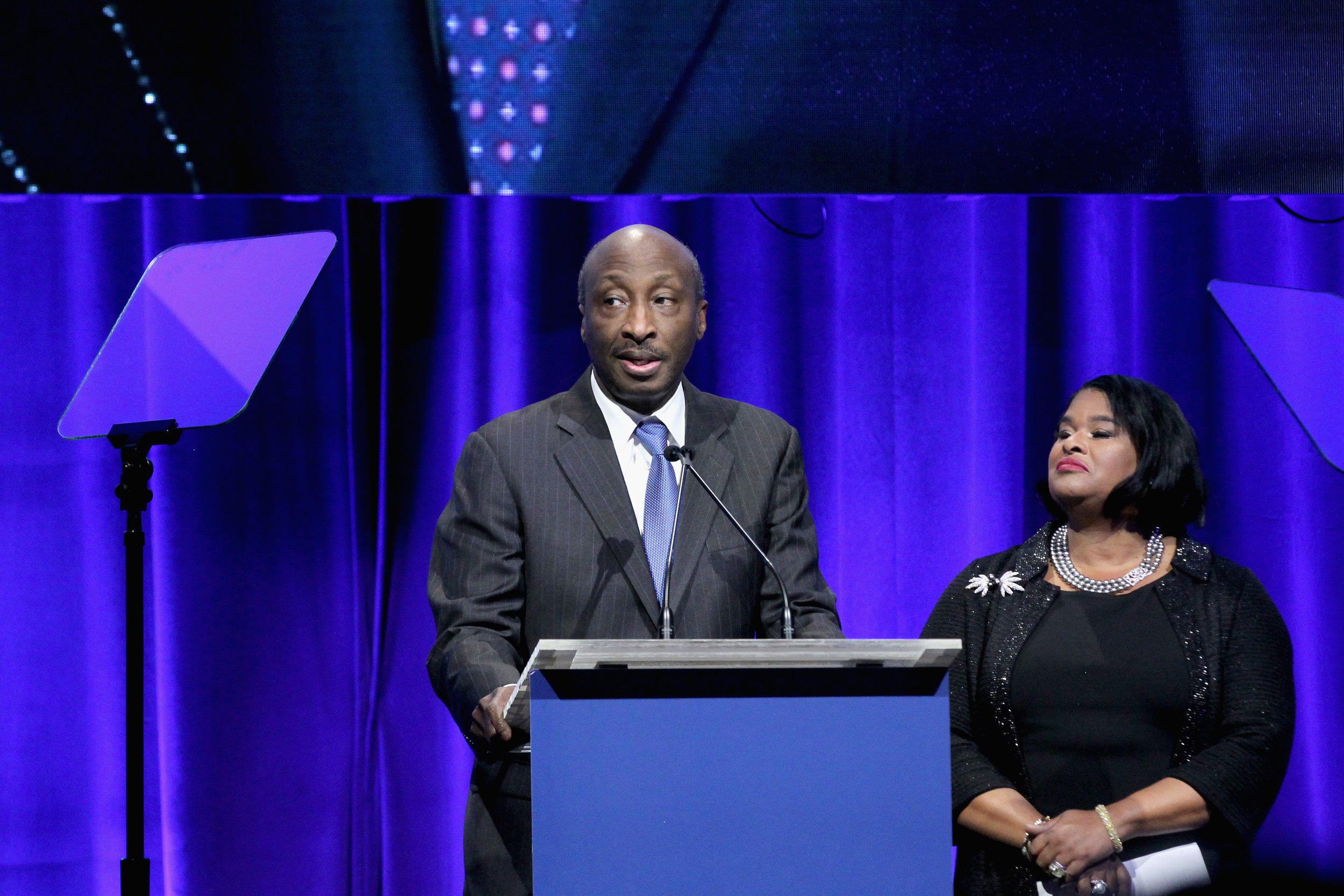 Kenneth Frazier and Robyn Coles speak onstage at the NAACP LDF 32nd National Equal Justice Awards Dinner at The Ziegfeld Ballroom on November 1, 2018 in New York City. (Photo by Bennett Raglin/Getty Images for NAACP LDF)