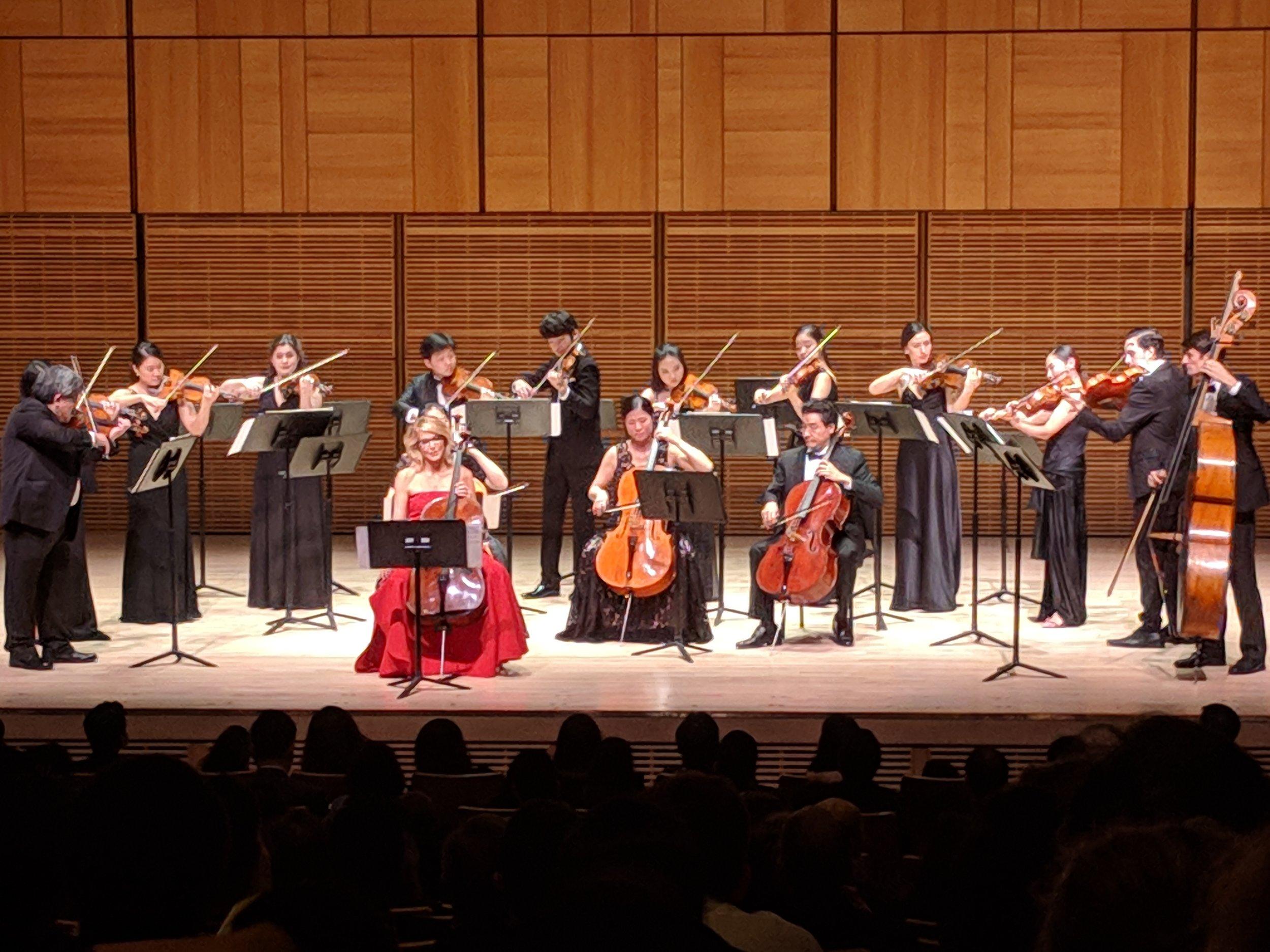 Paula Zahn plays the cello, with Sejong Soloists