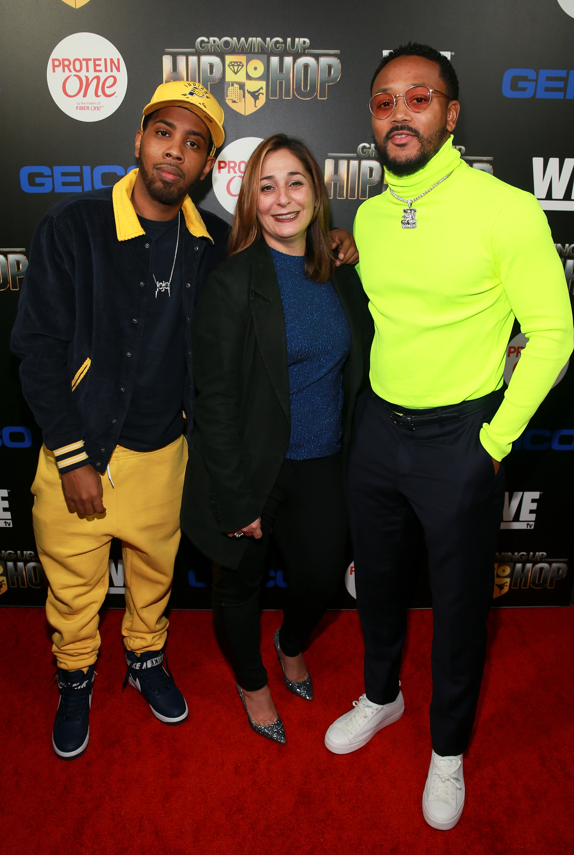 "(L - R) Jojo Simmons, Executive Vice President of WE tv Lauren Gellert, and Romeo Miller attend the ""Growing Up Hip Hop"" season 4 party on December 4, 2018 at Avenue in New York City. (Photo by Bennett Raglin/Getty Images for WE tv)"