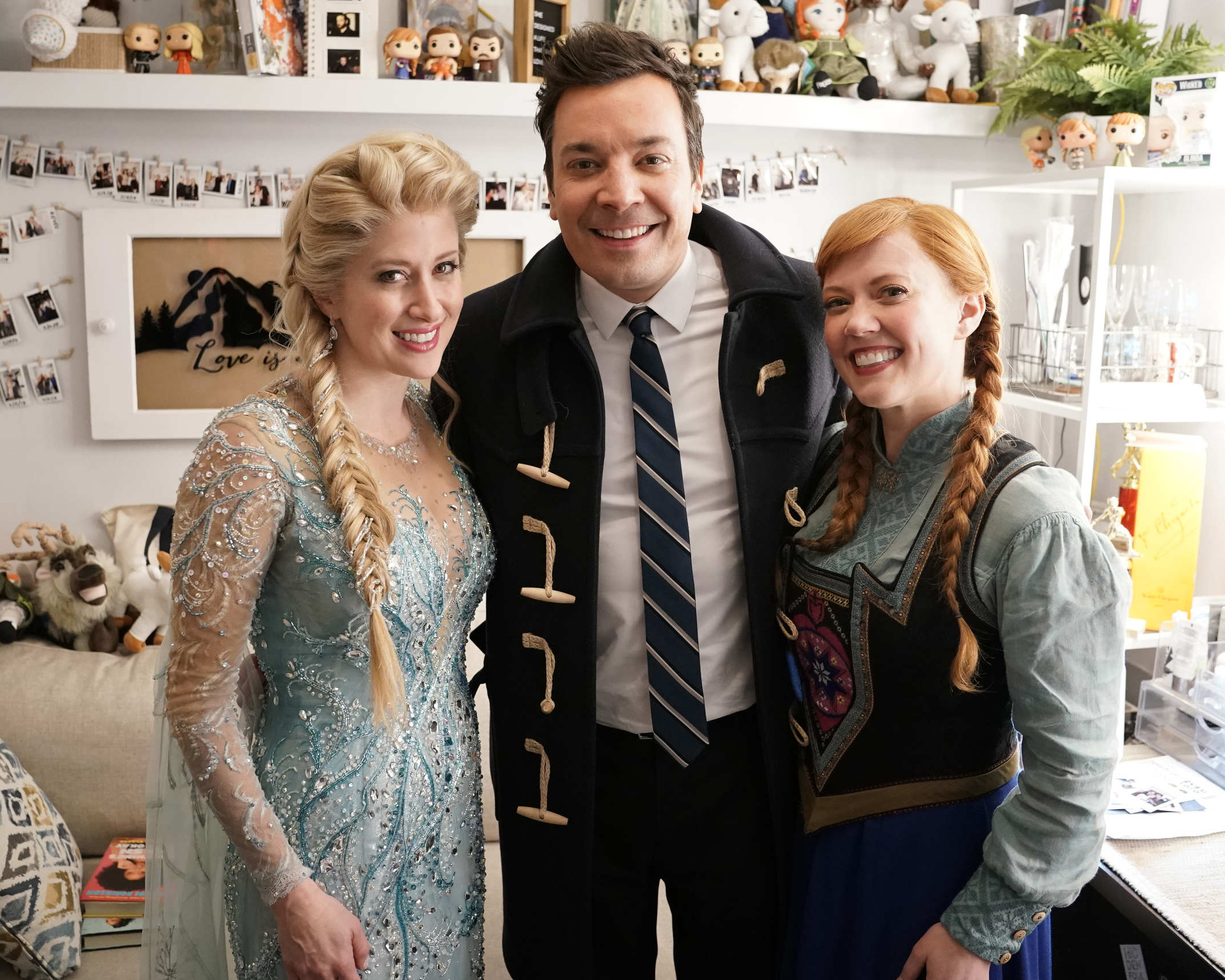 B -- Caissie Levy (Elsa), Patti Murin (Anna), and Jimmy Fallon. Photo by Andrew Lipovsky, NBC[1][1].JPG