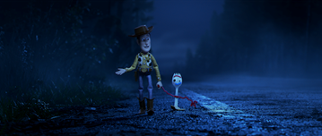 """LEADING THE WAY -- In Disney•Pixar's """"Toy Story 4,"""" Bonnie's beloved new craft-project-turned-toy, Forky, declares himself trash and not a toy, so Woody takes it upon himself to show Forky why he should embrace being a toy. Featuring Tom Hanks as the voice of Woody, and Tony Hale as the voice of Forky, """"Toy Story 4"""" opens in U.S. theaters on June 21, 2019"""