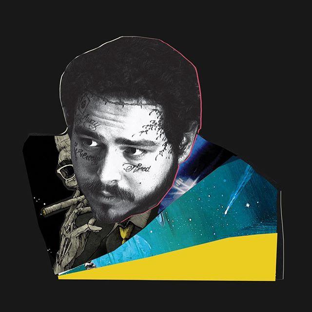 New @postmalone album drops Friday🔥🔥 made this piece cuz I'm forever inspired ✌🏽🌻 . . . Photo from @adamdegross  Manager @drelondon  Skull @yourmomlikesmymusic  #collageart #posty #phillyartist