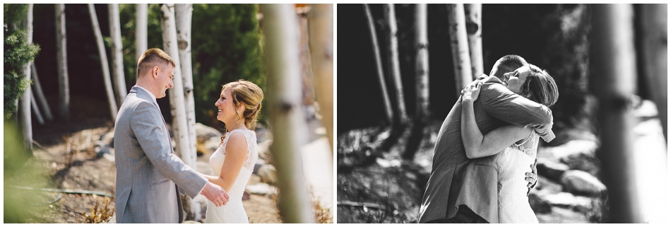 bride and groom first look at Wilderness Ridge, Lincoln NE wedding