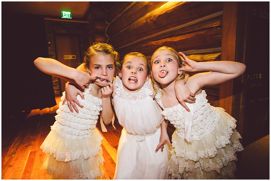 Flower girls making funny faces