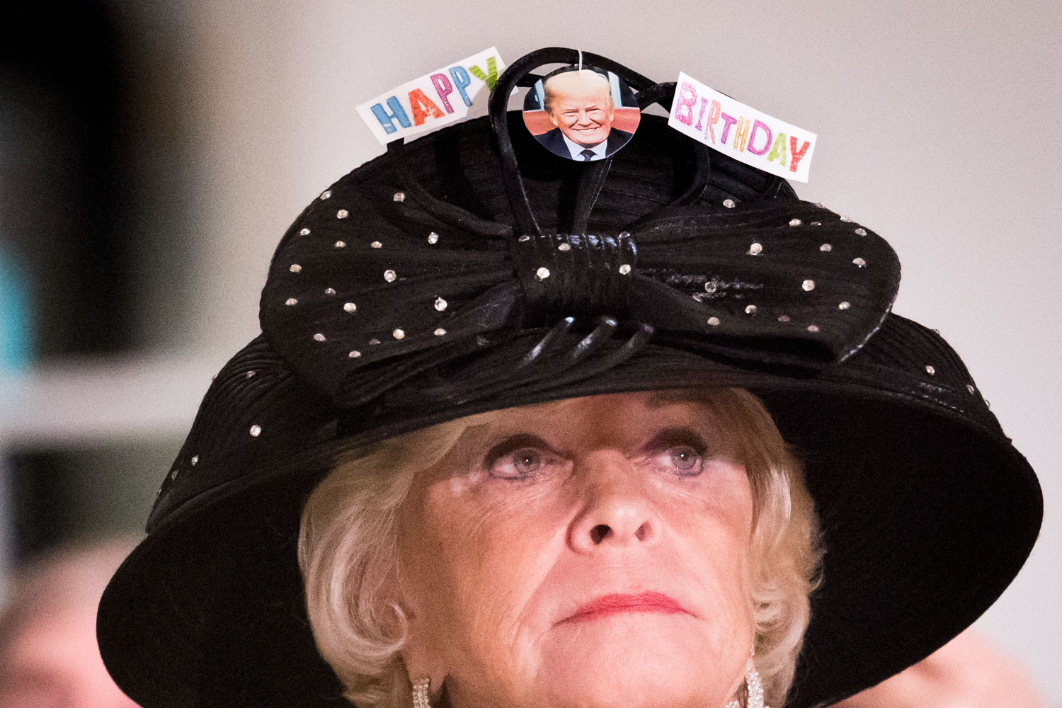 A guest at the Tea for Trump Birthday Extravaganza at the Trump Hotel in Washington, DC on June 24, 2018.