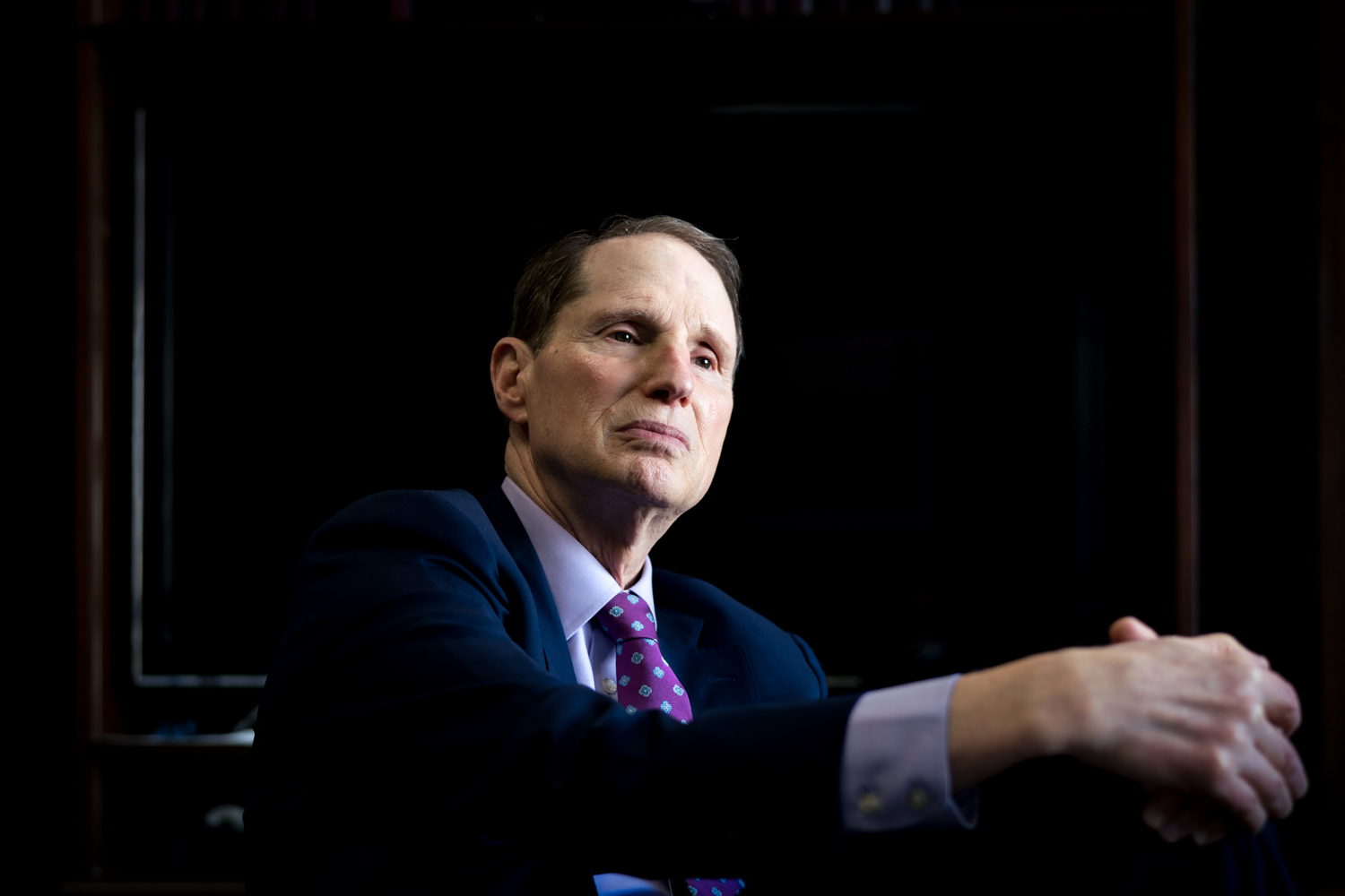 Senator Ron Wyden (D-OR) listens during an interview in his office on Capitol Hill in Washington, DC in July of 2018. (Photo for The Verge)
