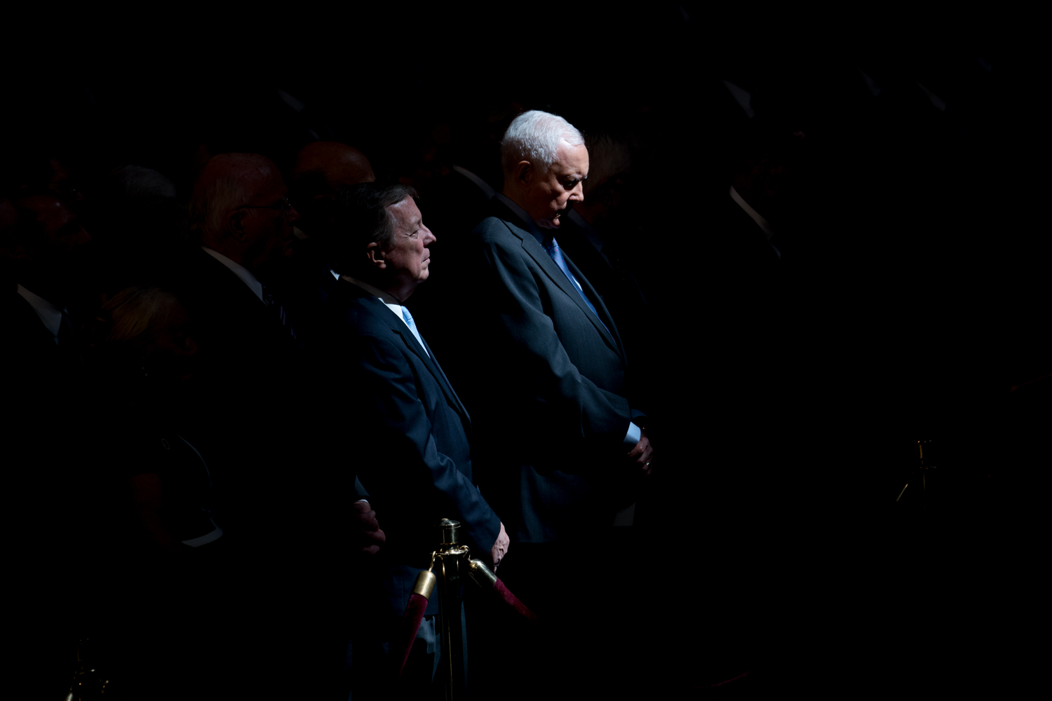 Senators Dick Durbin (D-Il), left, and Orrin Hatch (R-UT) during a ceremony to honor the late Senator John McCain in the Rotunda of the U.S. Capitol, in Washington, DC on August 31, 2018.(Erin Schaff for The New York Times)