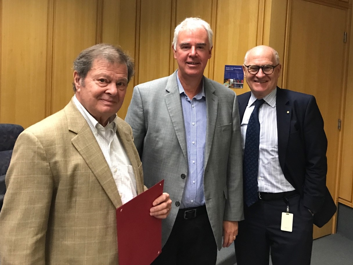 Prof. Furie with Prof. Philip Hogg, his collaborator at the Centenary Institute, and Prof Mathew Vadas, AO FAHMS , Executive Director of the Centenary Institute and Chair of the Australia-Harvard Fellowship program.
