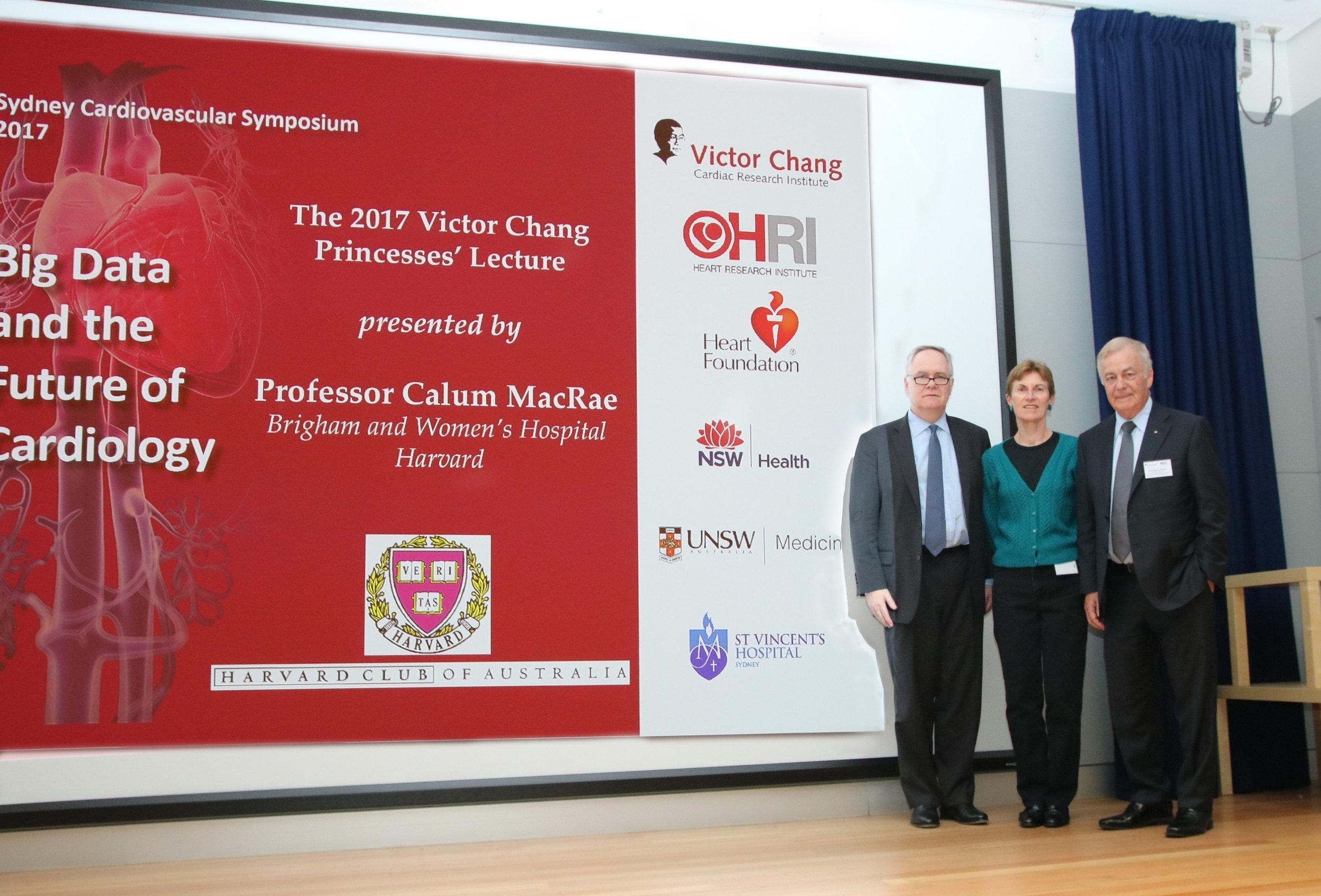 Photo : (l-r) Professors Calum Macrae (HMS), Diane Fatkin (VCCRI), Bob Graham AO (VCCRI)  [Photo courtesy of VCCRI]