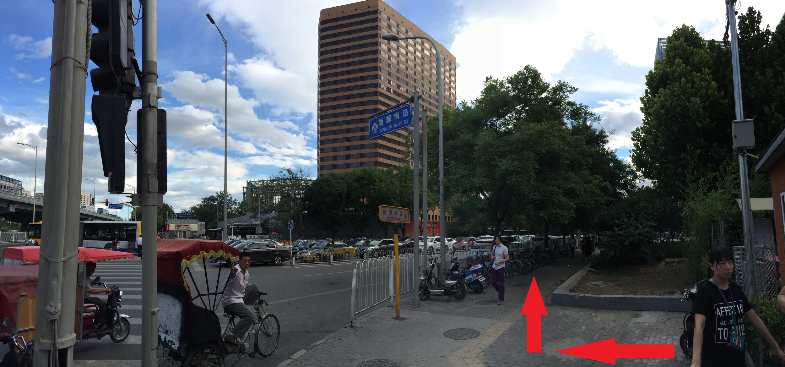 5. As you come out of the subway exit, turn right and follow the sidewalk.