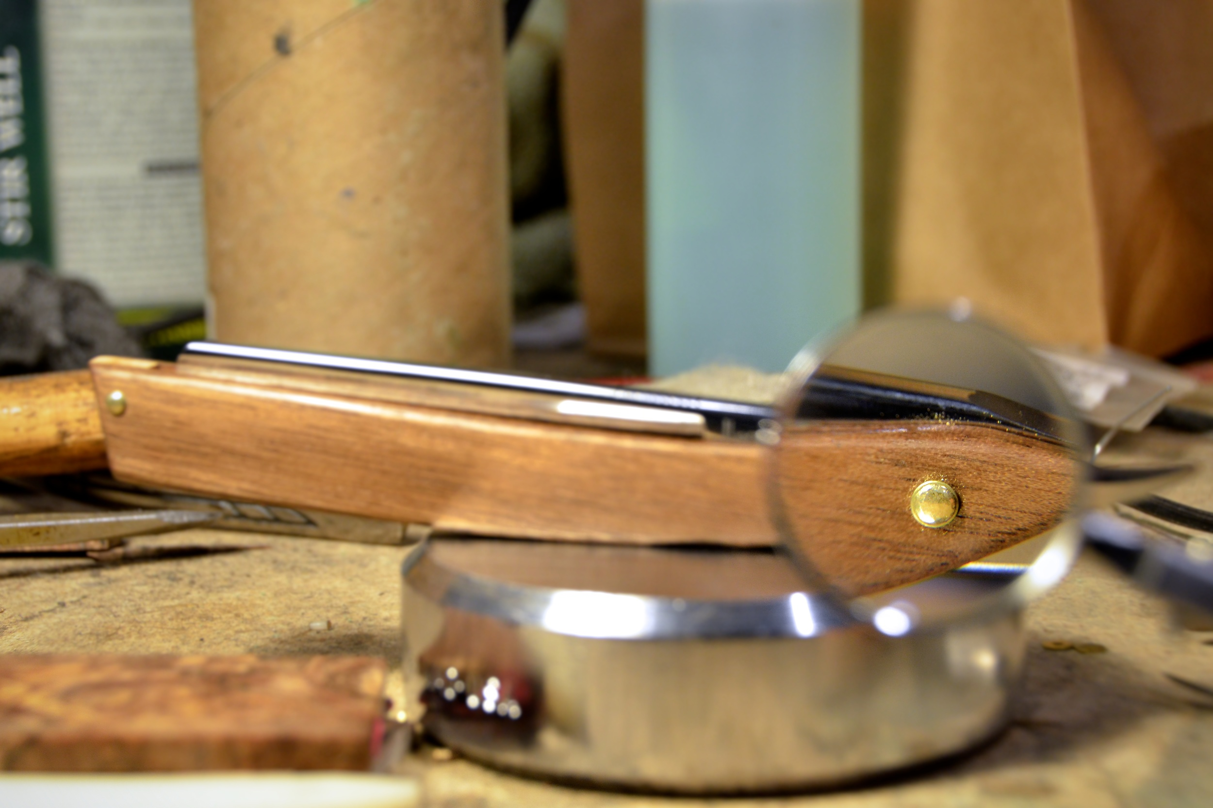 Straight Razor Pin, Closeup