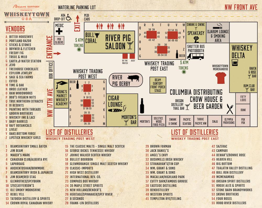 "The layout for this weekend's event. Look for Portland Razor Co in ""Whiskey Trading Post West!"""