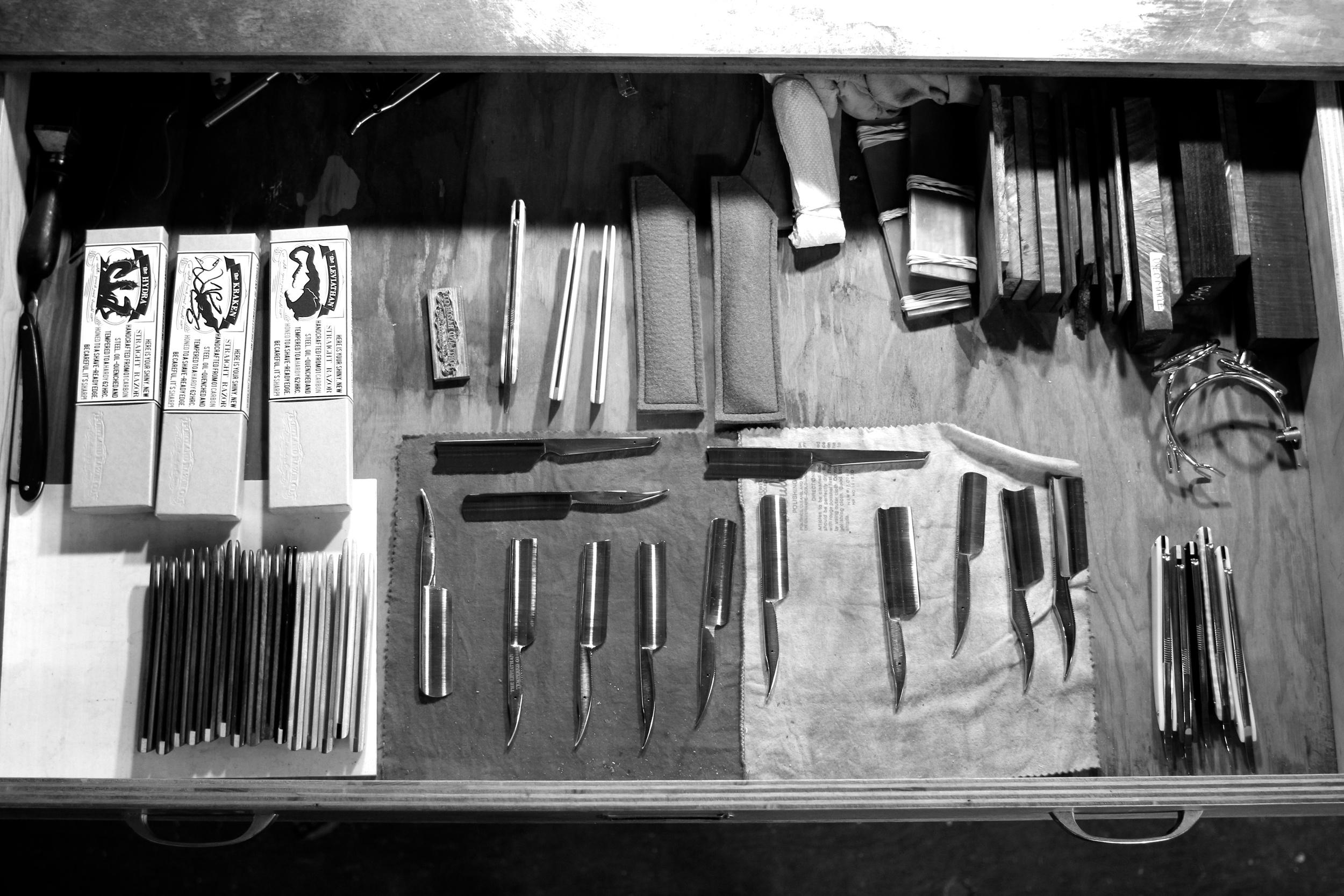 straight razor drawer lineup