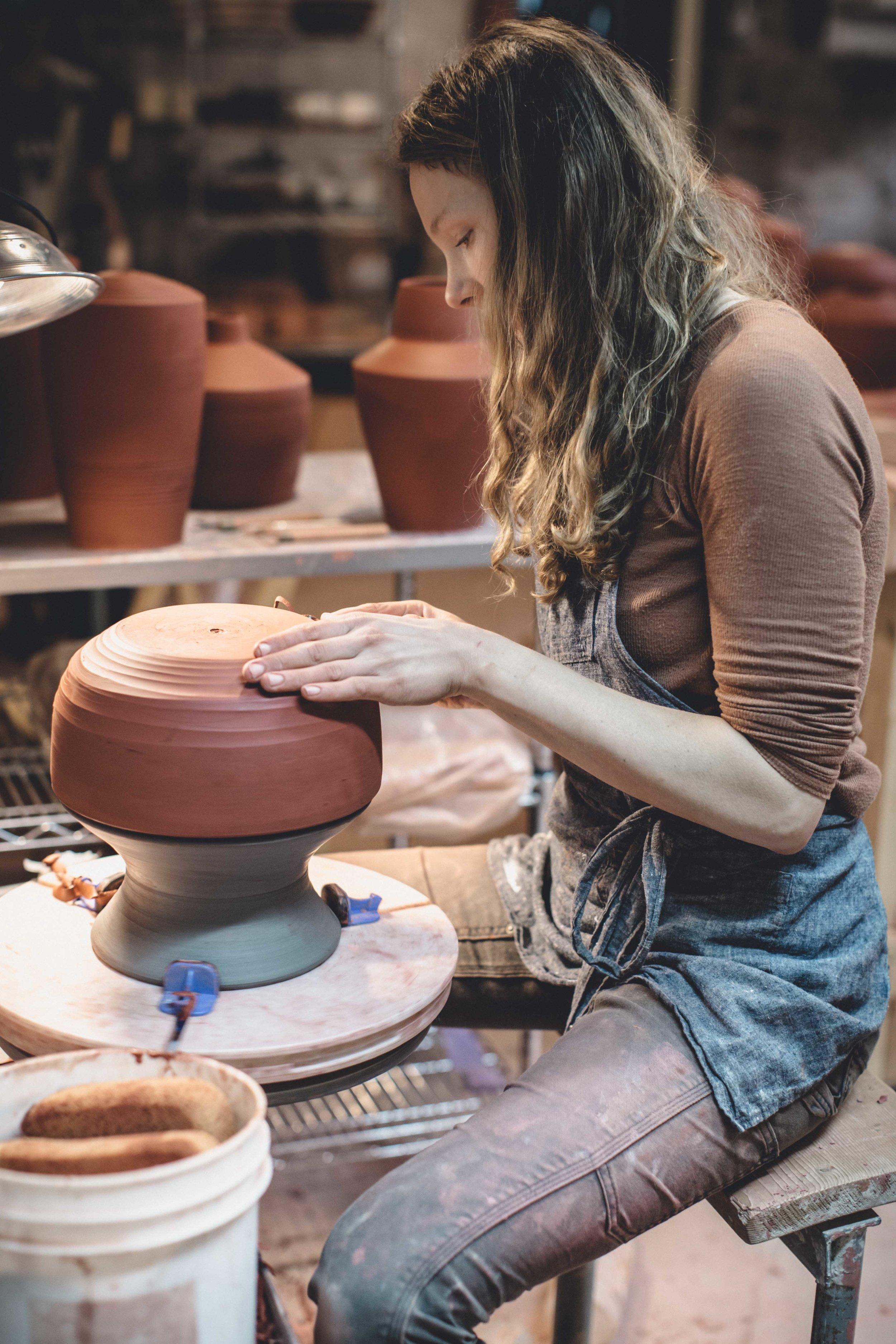 Sarah Wolf of Wolf Ceramics at Work