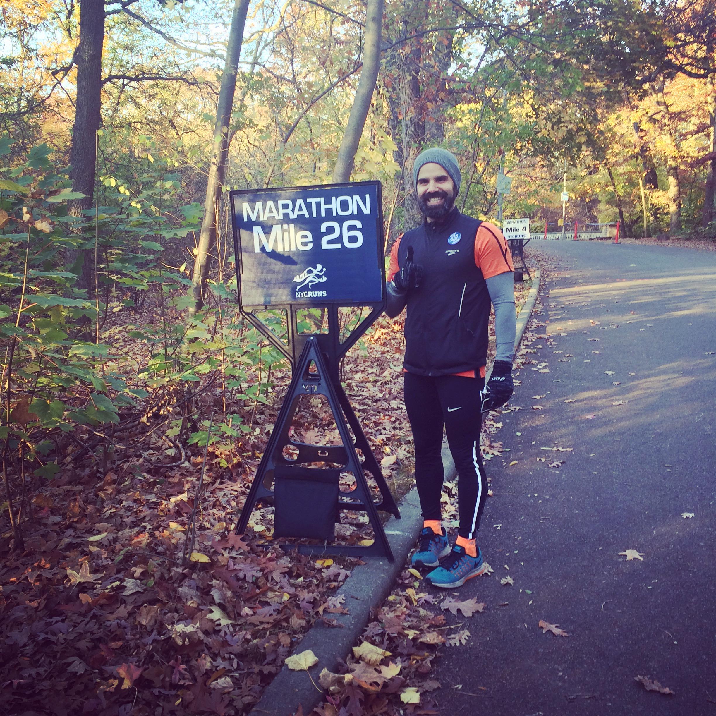 At my first marathon in November 2015.