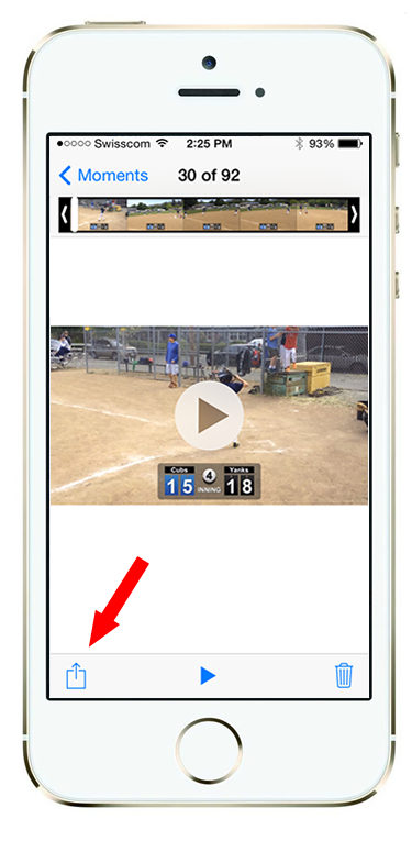 After saving your video to the Photos Library,go into your Photos app on your iOS device, and select the video/photo you'd like to see. Then click the Share button in lower left.