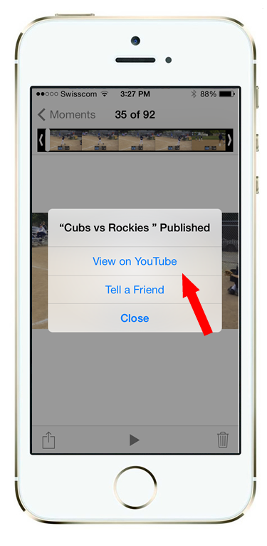 """After you click """"Publish"""" in the upper right, wait several minutes for the video to upload (you should see a status bar). Once its done you'll get a notice like the one shown here."""