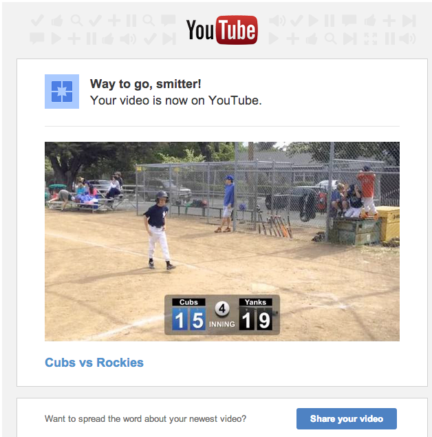 You'll also receive this nifty email from YouTube with instructions on how to share it! Enjoy!