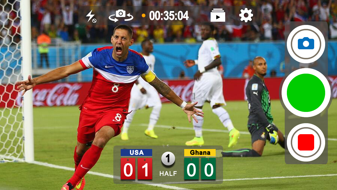The World Cup as viewed through ScoreCam with our custom scoreboard (TapBoard) showing the score and Clint Dempsey's goal. Just tap the screen to change the score. Tap+Hold to modify the scoreboard colors, team names, and more.