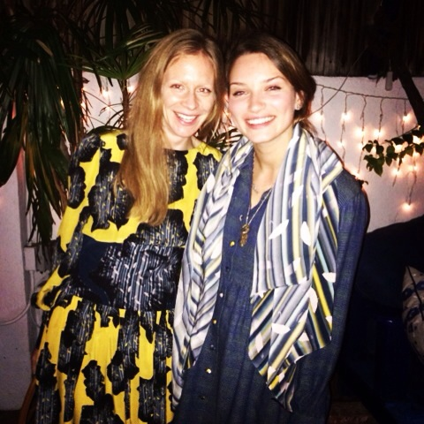 The Lines wearing Lola frock and Gemma in A/W Gemma frock and winter rain print scarf