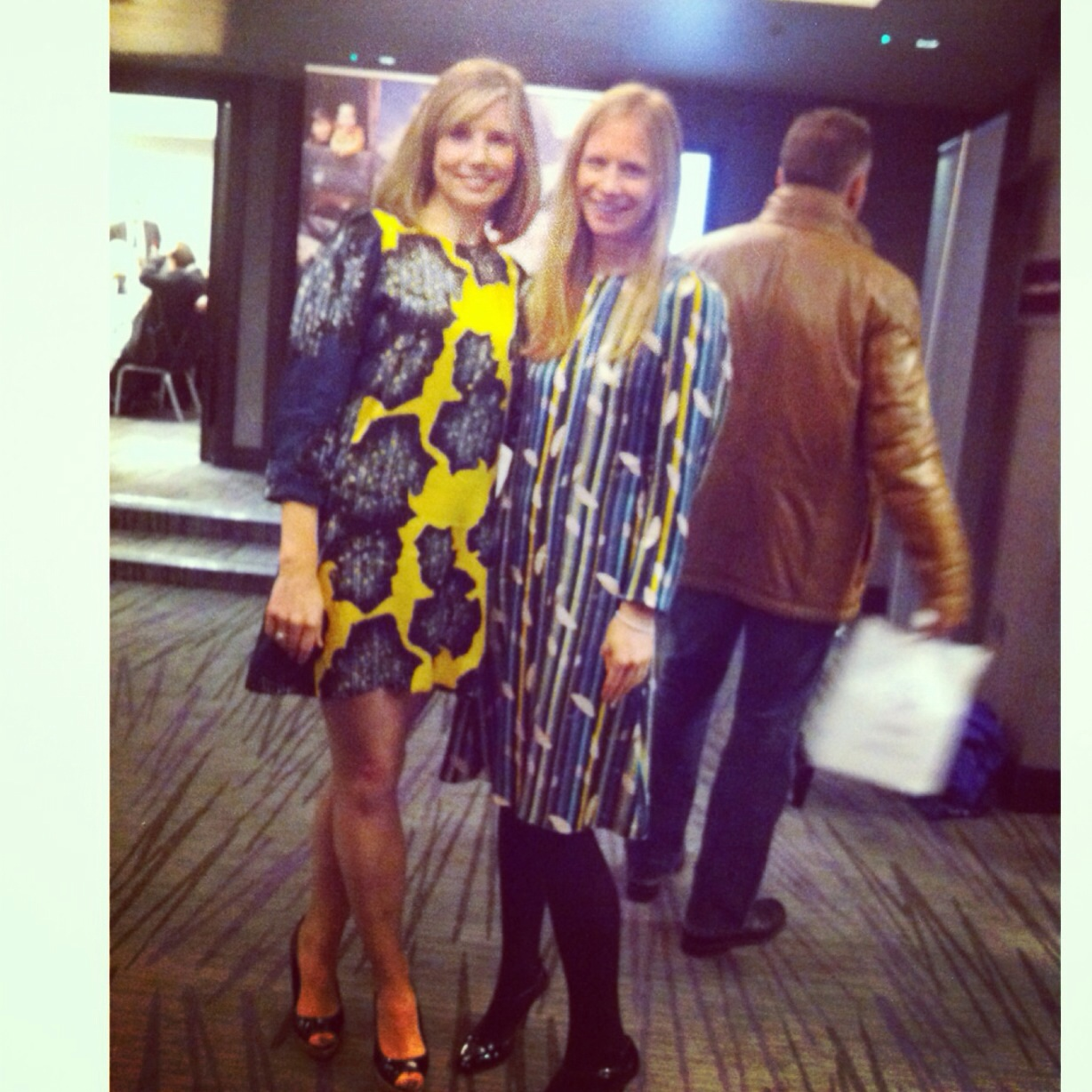 the fabulous Philippa Tomson wearing the Eva dress and The Lines wearing the Gwen